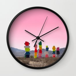 Seven Magic Mountains with Pink Sky - Las Vegas Wall Clock