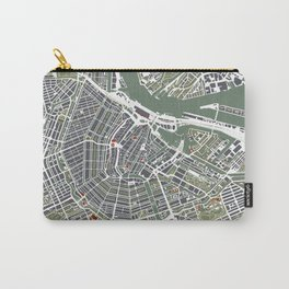 Amsterdam city map engraving Carry-All Pouch
