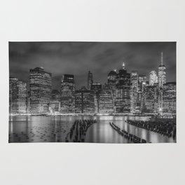 NEW YORK CITY Monochrome Night Impressions   Panoramic Rug