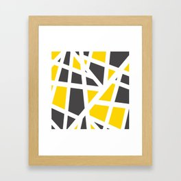Abstract Interstate  Roadways Gray & Yellow Color Framed Art Print