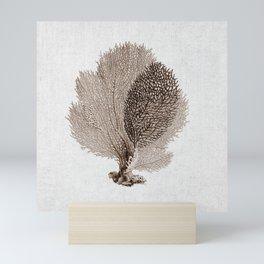 Brown Sea Fan Coral Illustration Nautical Decor Mini Art Print