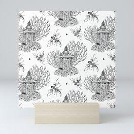 Toile Japanese Lantern Bouquet Pattern Mini Art Print