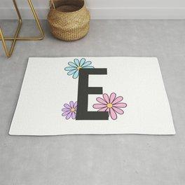 Floral Letter E Rug