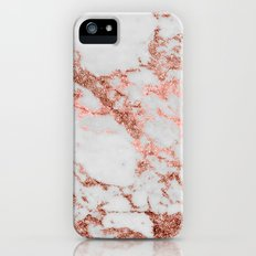 Stylish white marble rose gold glitter texture image iPhone SE Slim Case
