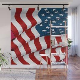 WAVY AMERICAN FLAG JULY 4TH ART Wall Mural