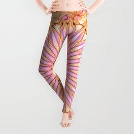 Mandala in pink, yellow and orange tones Leggings