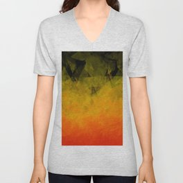 Sunset Abstract Facets Unisex V-Neck