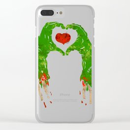 zombie hand making heart Clear iPhone Case