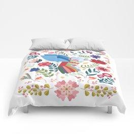 Folk Art Inspired Hummingbird In A Burst Of Springtime Blossoms Comforters