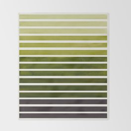 Watercolor Gouache Mid Century Modern Minimalist Colorful Olive Green Stripes Throw Blanket