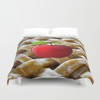 pie Duvet Covers featuring apple pie by store2u