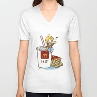 hetalia V-neck T-shirts featuring Hetalia - America Loves McDonalds  by BlacksSideshow