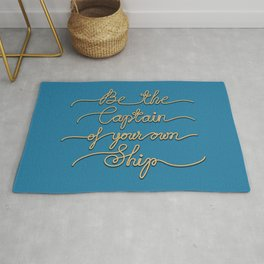 Be the Captain of your own Ship (Blue and Beige) Rug