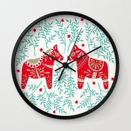 Swedish Dala Horses – Red & Mint Palette Wall Clock