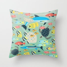 Underwater World with Coral Reef Animals Throw Pillow