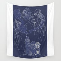 jelly fish Wall Tapestries featuring Jelly Fish by Jessica Bowman Illustrates