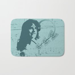Silhouette Female Soprano Opera Singer, Handwritten Scales, Music, Hearts and Butterflies on Teal Bath Mat