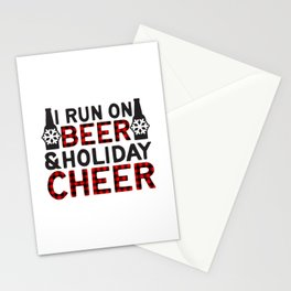 I Run On Beer & Holiday Cheer, Funny, Quote Stationery Cards