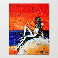 bikini Canvas Prints featuring Bikini by Khryztof