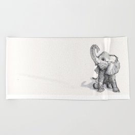 tiny elephant sitting in the corner Beach Towel
