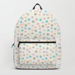 Teal orange lavender abstract modern floral Backpack