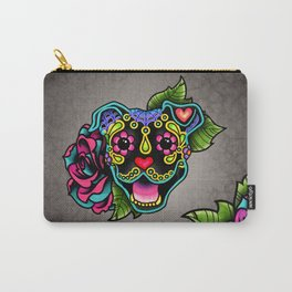 Smiling Pit Bull in Black - Day of the Dead Pitbull Sugar Skull Carry-All Pouch
