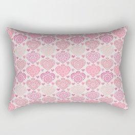 Pink Heart Valentine's Doilies Pattern Rectangular Pillow