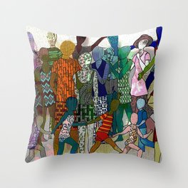 To the Beach by Lesley Nolan Throw Pillow