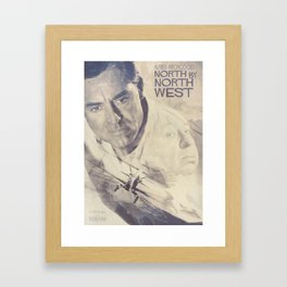 North by Northwest, Alfred Hitchcock, vintage movie poster, Cary Grant, minimalist Framed Art Print