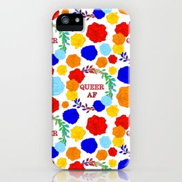 QUEER AF - A Rainbow Floral Pattern iPhone Case