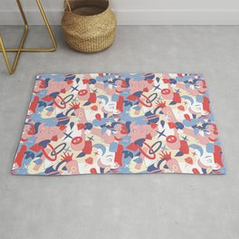 Man and girl surrealistic pattern Rug