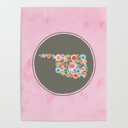 Oklahoma Watercolor Flowers on Pink and Gray Poster