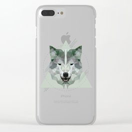 Geometric Wolf Clear iPhone Case