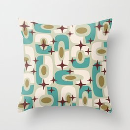 Mid Century Modern Cosmic Abstract 144 Turquoise Gold Brown and Beige Throw Pillow