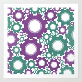A Cog design in modern colours Art Print