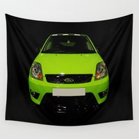 ford Wall Tapestries featuring Green Ford Fiesta by VHS Photography