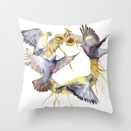 Autumn in the city Pigeon Wreath Throw Pillow
