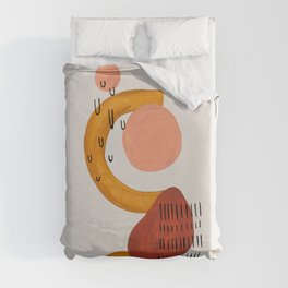 'Boomerang' Earth Tones Neural Warm Colors Fun Space Shapes Yellow Ochre Tan Brown by Ejaaz Haniff Duvet Cover