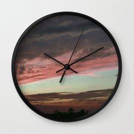 Pink Sunset, Macomb IL Wall Clock