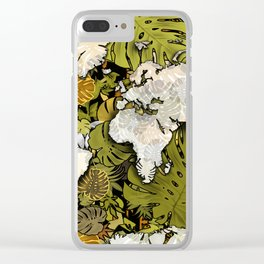 world map tropical leaves 5 Clear iPhone Case