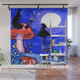 Trippy Original Alice in Wonderland by the Moon Mushroom Mixed Media Painting on Paper Wall Mural