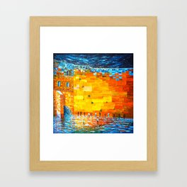 Jerusalem Wailing Wall Original Acrylic Palette Knife Painting Framed Art Print