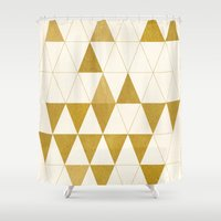 phone Shower Curtains featuring My Favorite Shape by Krissy Diggs