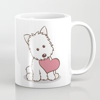 westie Mugs featuring Westie Dog with Love Illustration by Li Kim Goh