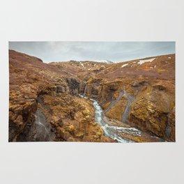 Glymur waterfall early spring | Iceland Rug