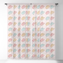 Western Cowgirl Vintage Rodeo Hats with Daisies in Pastel Pink, Blush, Mint and Yellow Retro Hat Pattern Sheer Curtain