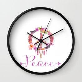 Peace Symbol Flower Power 70s Art Wall Clock