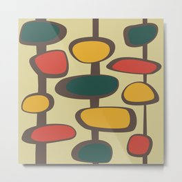 Mid Century Modern Baubles (gold) Metal Print
