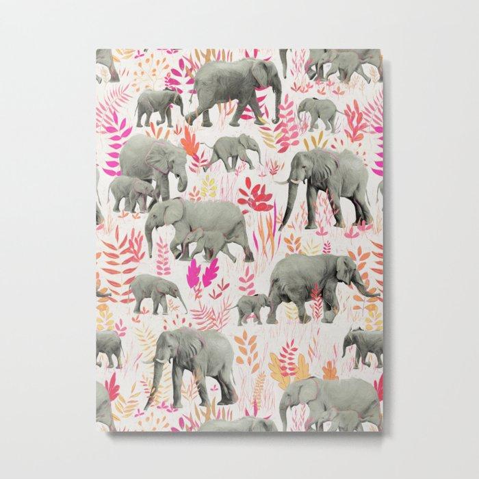 Sweet Elephants in Pink, Orange and Cream Metal Print