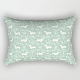 Dachshund mint florals pet portrait dog art dachsie doxie pet art dog breeds Rectangular Pillow